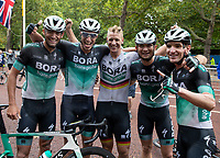 BORA-HANSGROHE, with Pascal Ackermann (GER) (centre), celebrate winning The Prudential RideLondon Classic. Sunday 29th July 2018<br /> <br /> Photo: Ian Walton for Prudential RideLondon<br /> <br /> Prudential RideLondon is the world's greatest festival of cycling, involving 100,000+ cyclists - from Olympic champions to a free family fun ride - riding in events over closed roads in London and Surrey over the weekend of 28th and 29th July 2018<br /> <br /> See www.PrudentialRideLondon.co.uk for more.<br /> <br /> For further information: media@londonmarathonevents.co.uk