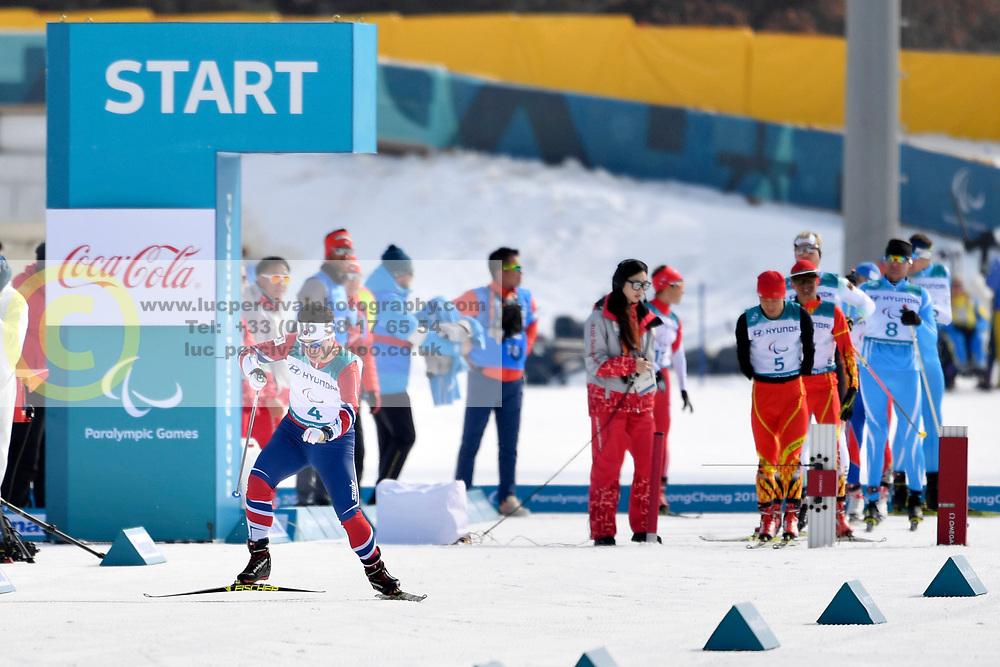 KWON Sanghyeon KOR LW8 competing in the ParaSkiDeFond, Para Nordic Skiing, 20km at  the PyeongChang2018 Winter Paralympic Games, South Korea.