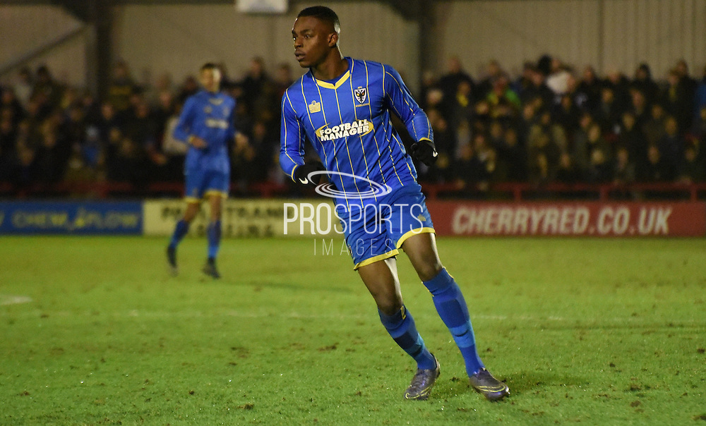 Toyosi Olusanya in action during the FA Youth Cup match between U18 AFC Wimbledon and U18 Chelsea at the Cherry Red Records Stadium, Kingston, England on 9 February 2016. Photo by Michael Hulf.