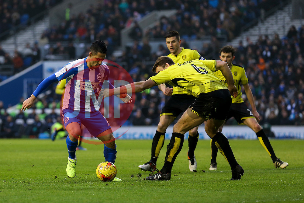 Beram Kayal of Brighton & Hove Albion on the attack is blocked by Ben Turner of Burton Albion - Mandatory by-line: Jason Brown/JMP - 11/02/2017 - FOOTBALL - Amex Stadium - Brighton, England - Brighton and Hove Albion v Burton Albion - Sky Bet Championship