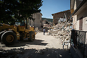 A man look at the rumbles of his house destroyed during the night by an earthquake in Saletta few kilometers from Amatrice. A 6,4 earthquake has hit central Italy during the night between the 23 and 24 August killing more than 100. The town of Amatrice is been heavily damaged.
