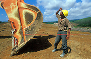 Worker on construction site for the Southern Highway which will lead from Colombo to Matara. Funded by the Asian Development Bank. October 2003