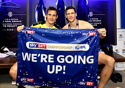 Free to use courtesy of Sky Bet - Dean Whitehead of Huddersfield Town and Mark Hudson of Huddersfield Town celebrate winning the Sky Bet Championship Playoff Final and promotion to the Premier League - Mandatory by-line: Robbie Stephenson/JMP - 29/05/2017 - FOOTBALL - Wembley Stadium - London, England - Huddersfield Town v Reading - Sky Bet Championship Play-off Final