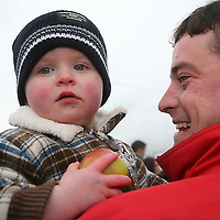 Darragh with dad Mikey Jones at the Killaloe Point to Point on Sunday.<br /><br /><br /><br />Photograph by Yvonne Vaughan.