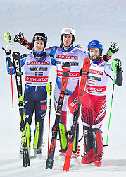 19.02.2019, Stockholm, SWE, FIS Weltcup Ski Alpin, Parallelslalom, Herren, Siegerehrung, im Bild v.l. 2. Platz Andre Myhrer (SWE), 1. Platz Ramon Zenhaeusern (SUI), 3. Platz Marco Schwarz (AUT) // f.l. second placed Andre Myhrer of Sweden race winner Ramon Zenhaeusern of Switzerland third placed Marco Schwarz of Austria during the winner Ceremony for the men's parallel slalom of FIS ski alpine world cup at the Stockholm, Sweden on 2019/02/19. EXPA Pictures © 2019, PhotoCredit: EXPA/ Nisse Schmidt<br /> <br /> *****ATTENTION - OUT of SWE*****