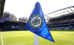 Close up of the Chelsea corner flag before the Premier League match at Stamford Bridge, London.