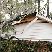 A tree limb rests on a home on Winston Blvd. in Wilmington, N.C. Thursday February 13, 2014. The area saw two days of freezing rain that  caused a loss of power for much of New Hanover, Pender, and Brunswick counties.  (Jason A. Frizzelle)