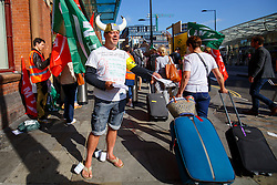 © Licensed to London News Pictures. 12/08/2016. London, UK. Eurostar staff protest at a picket line outside St Pancras station in London as international rail passengers face a 4 day of travel chaos because of four separate Eurostar strikes in a dispute over members' work-life balance. Photo credit: Tolga Akmen/LNP