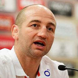 England forwards coach Steve Borthwick talks to the press