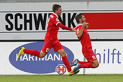 24.09.2014, Voith Arena, Heidenheim, GER, 2. FBL, 1. FC Heidenheim vs 1. FC Nuernberg, 7. Runde, im Bild Links Robert Leipertz ( 1.FC Heidenheim ) rechts Patrick Mayer (1.FC Heidenheim) nach dem 3:0 // during the 2nd German Bundesliga 7th round match between 1. FC Heidenheim and 1. FC Nuernberg at the Voith Arena in Heidenheim, Germany on 2014/09/24. EXPA Pictures © 2014, PhotoCredit: EXPA/ Eibner-Pressefoto/ Langer<br /> <br /> *****ATTENTION - OUT of GER*****