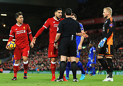 Emre Can of Liverpool complains to the referee - Mandatory by-line: Matt McNulty/JMP - 30/12/2017 - FOOTBALL - Anfield - Liverpool, England - Liverpool v Leicester City - Premier League