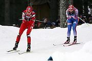 GEPA-1602088883 - OESTERSUND,SCHWEDEN,16.FEB.08 - BIATHLON - IBU Weltmeisterschaft, Massenstart Damen. Bild zeigt Magdalena Gwizdon (POL) und Ekaterina Iourieva (RUS). Foto: GEPA pictures/ Martina Wohlesser.FOT. GEPA / WROFOTO.*** POLAND ONLY !!! ***
