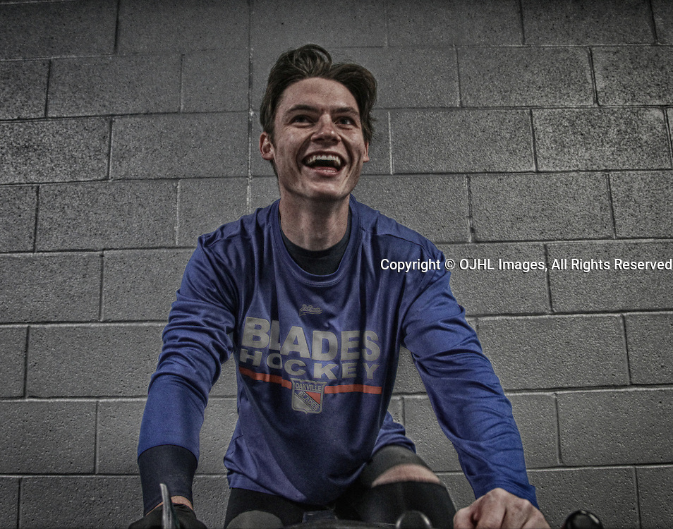 OAKVILLE, ON  - MAR 3,  2017: Ontario Junior Hockey League, playoff game between the Oakville Blades and the North York Rangers. Pregame on the bike Oakville Blades.<br /> (Photo by Tim Bates / OJHL Images)