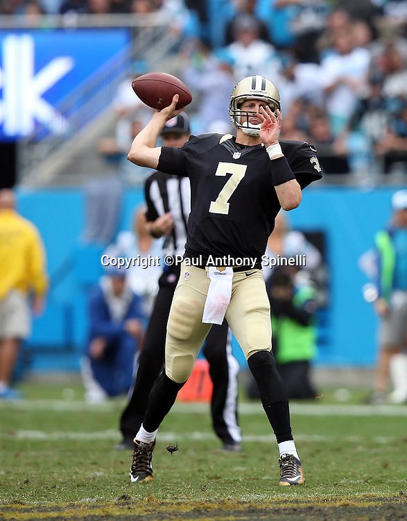 New Orleans Saints quarterback Luke McCown (7) throws a pass during the 2015 NFL week 3 regular season football game against the Carolina Panthers on Sunday, Sept. 27, 2015 in Charlotte, N.C. The Panthers won the game 27-22. (©Paul Anthony Spinelli)