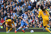 Brighton & Hove Albion forward Tomer Hemed (10) outpaces Preston North End defender Bailey Wright (6) during the Sky Bet Championship match between Brighton and Hove Albion and Preston North End at the American Express Community Stadium, Brighton and Hove, England on 24 October 2015. Photo by Geoff Penn.