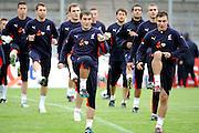 GEPA-1905085620 - DONAUESCHINGEN,DEUTSCHLAND,19.MAI.08 - FUSSBALL - UEFA Europameisterschaft, Vorbereitung auf die EURO 2008, PZPN, Polnischer Fussabllverband, Nationalteam Polen, Trainingslager in Donaueschingen, Training. Bild zeigt das Polnische Nationalteam beim Aufwaermen mit Grzegorz Bronowicki und Marek Saganowski (POL). Foto: GEPA pictures/ Oliver Lerch ***********.19/05/2008 .DONAUESCHINGEN / niemcy /.Zgrupowanie reprezentacji polski w ramach przygotowan do Euro 2008.NA ZDJ. TRENING REPREZENTACJI .FOT. GEPA / WROFOTO.*** POLAND ONLY !!! ***