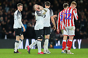 Derby County player/coach Wayne Rooney (32) celebrates after scoring Derby's 3rd goal of the game during the EFL Sky Bet Championship match between Derby County and Stoke City at the Pride Park, Derby, England on 31 January 2020.