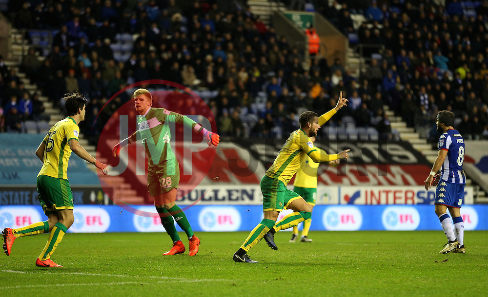 Mitchell Dijks of Norwich City celebrates after scoring the equalising goal to make it 2-2 - Mandatory by-line: Matt McNulty/JMP - 07/02/2017 - FOOTBALL - DW Stadium - Wigan, England - Wigan Athletic v Norwich City - Sky Bet Championship