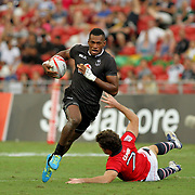 Fiji powers on 40-0 vs Hong Kong in the Singapore Sevens, Day 1, National Stadium, Singapore.  Photo by Barry Markowitz, 4/15/17