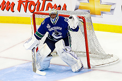 June 4, 2011; Vancouver, BC, CANADA; Vancouver Canucks goalie Roberto Luongo (1) warms up before game two of the 2011 Stanley Cup Finals against the Boston Bruins at Rogers Arena. Vancouver defeated Boston 3-2 in overtime. Mandatory Credit: Jason O. Watson / US PRESSWIRE