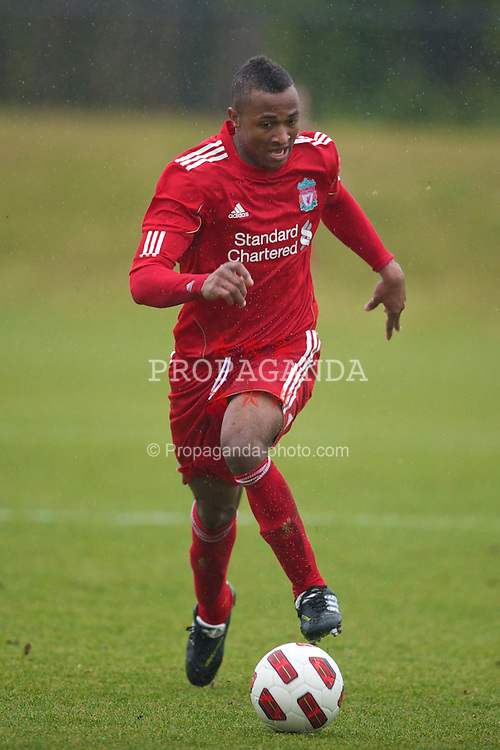 KIRKBY, ENGLAND - Saturday, February 5, 2011: Liverpool's Toni Brito De Silva in action against Manchester City during the FA Academy Under 18s League at the Kirkby Academy. (Photo by David Rawcliffe/Propaganda)
