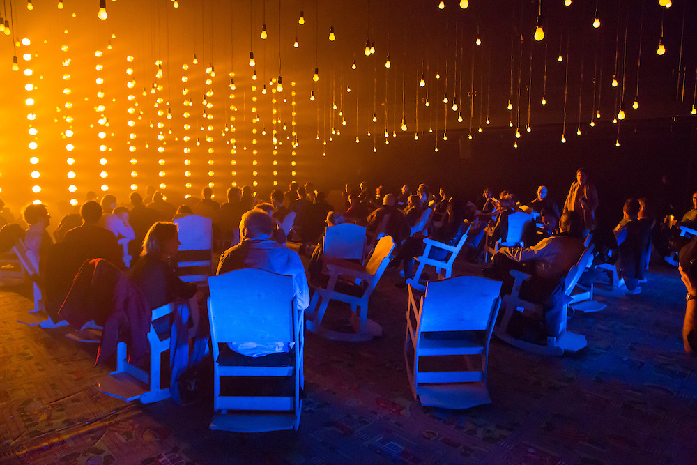 "The audience before the start of Samuel Beckett's ""All That Fall"" in the Fishman Space at the Brooklyn Academy of Music. The design was by Aedin Cosgrove."