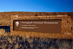 National Park Service welcome sign to Petroglyph National Monument, Albuquerque, New Mexico, United States of America