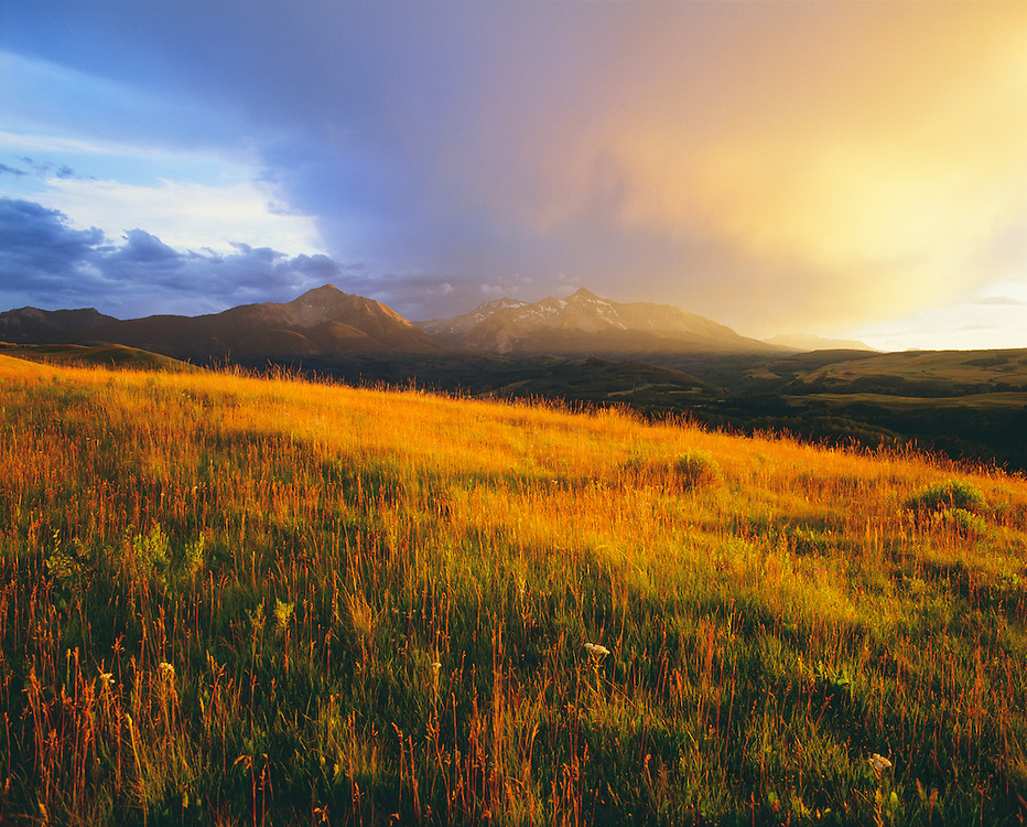 0441-1001 ~ Copyright: George H. H. Huey ~ Sunshine Mountains and Wilson Peak at sunset with summer storm. San Juan Mountains. Uncompahgre National Forest. [Near Telluride]. Colorado.