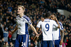 Darren Fletcher celebrates after Brown Ideye of West Brom (2R) scores a goal to make it 1-0 - Photo mandatory by-line: Rogan Thomson/JMP - 07966 386802 - 11/02/2015 - SPORT - FOOTBALL - West Bromwich, England - The Hawthorns - West Bromwich Albion v Swansea City - Barclays Premier League.