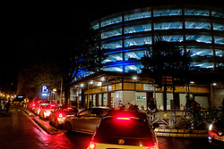 Cars queing to enter the multi-storey car park in the Place des Carmes, Toulouse, France<br /> <br /> (c) Andrew Wilson | Edinburgh Elite media