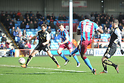 Hakeeb Adelakun of Scunthorpe United scores goal to go 3-0 up  during the Sky Bet League 1 match between Scunthorpe United and Swindon Town at Glanford Park, Scunthorpe, England on 28 March 2016. Photo by Ian Lyall.