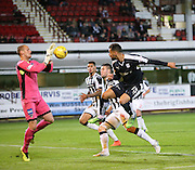 Dunfermline keeper Sean Murdoch denies Dundee's Kane Hemmings  - Dunfermline Athletic v Dundee - Scottish League Cup at East End Park<br /> <br />  - © David Young - www.davidyoungphoto.co.uk - email: davidyoungphoto@gmail.com