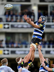 Leroy Houston of Bath Rugby looks to win the ball at a lineout - Mandatory byline: Patrick Khachfe/JMP - 07966 386802 - 05/12/2015 - RUGBY UNION - The Recreation Ground - Bath, England - Bath Rugby v Northampton Saints - Aviva Premiership.