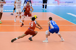 September 12, 2018 - Varna, Bulgaria - Rivera Eddie, L, and Cabrera Rivera Arnel, R, from Puerto Rico, play the ball during Iran vs Puerto Rico, pool D, during 2018 FIVB Volleyball Men's World Championship Italy-Bulgaria 2018, Varna, Bulgaria on September 12, 2018  (Credit Image: © Hristo Rusev/NurPhoto/ZUMA Press)