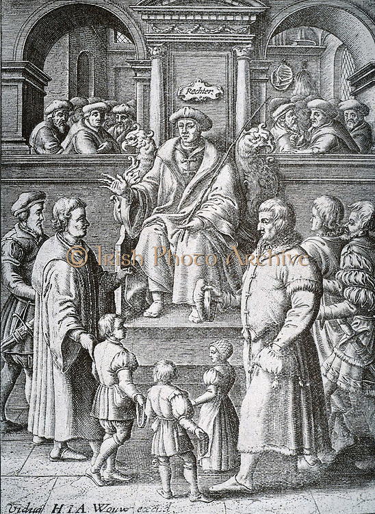 Conclusion of demand and defence before the judge (with his staff of prosecutors).  In the foreground is the standing figure of children which relates to the case where, pending trial, 'commission' or immediate facility must be intended for minors or women.  Legal practice in the Netherlands 17th century