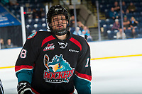 KELOWNA, CANADA - SEPTEMBER 5: Dallon Wilton #18 of the Kelowna Rockets skates to the bench to celebrate a goal against the Kamloops Blazers on September 5, 2017 at Prospera Place in Kelowna, British Columbia, Canada.  (Photo by Marissa Baecker/Shoot the Breeze)  *** Local Caption ***