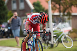 Eri Yonamine escapes solo at Boels Rental Ladies Tour Stage 2 a 132.8 km road race from Eibergen to Arnhem, Netherlands on August 30, 2017. (Photo by Sean Robinson/Velofocus)
