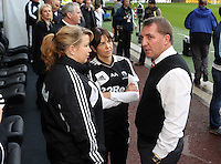 Sunday, 25 November 2012..Pictured: Brendan Rodgers, manager for Liverpool (R) speaks to former Swansea coaching staff...Re: Barclays Premier League, Swansea City FC v Liverpool at the Liberty Stadium, south Wales.