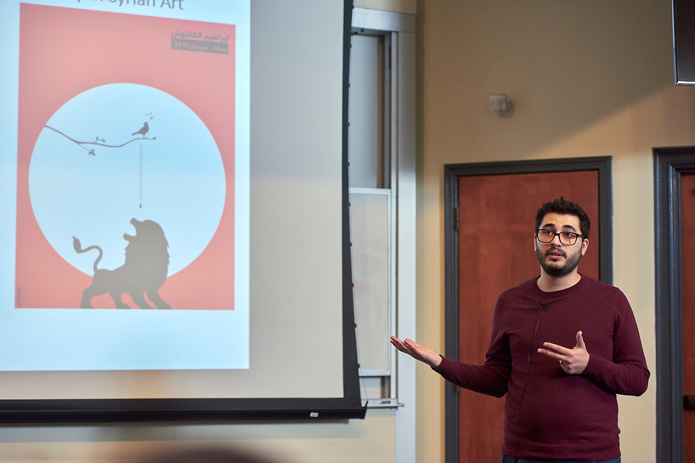 "Basil Masri Zada, an Interdisciplinary Arts Doctoral Student from the College of Fine Arts presents his thesis entitled ""Practices of Everyday Life and the Syrian Body in Syrian art of the Syrian Crisis since 2011""."