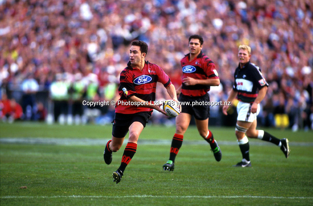 James Kerr Looks to pass for the Canterbury Crusaders during the rugby union Super 12. 1998. Photo: Scott Barbour/PHOTOSPORT