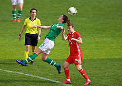 MARBELLA, SPAIN - Tuesday, March 5, 2019: Republic of Ireland's Niamh Fahey (L) and Wales' Hayley Ladd during an international friendly match between Wales and Republic of Ireland at the Estadio Municipal de Marbella. (Pic by David Rawcliffe/Propaganda)