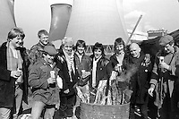 3 members of the singing group The Flying Pickets join miner's pickets at Drax Power Station during the 1984-85 miners strike.