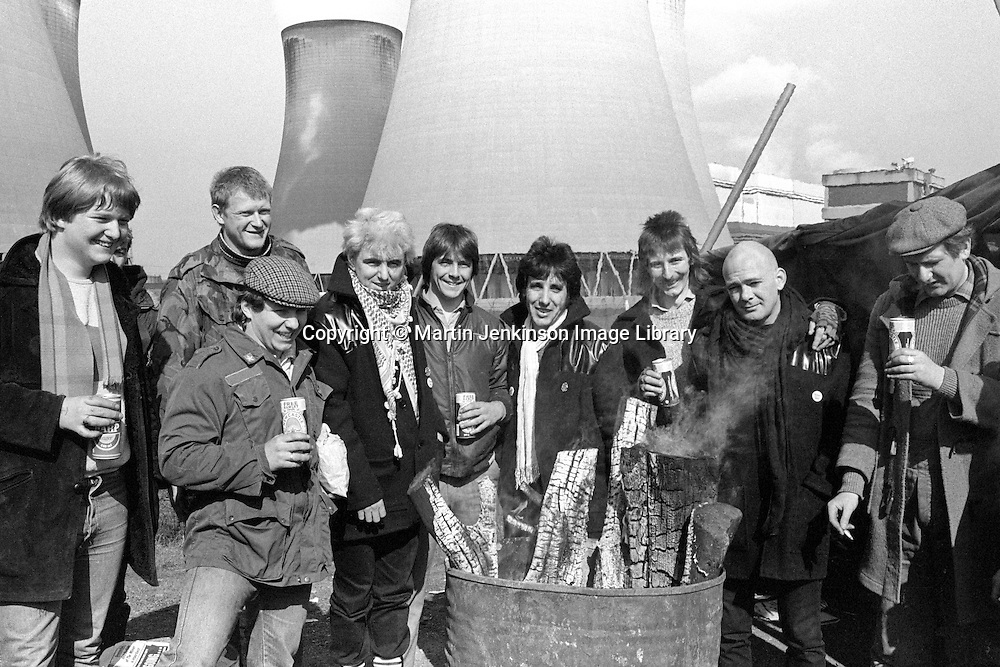 3 members of the singing group The Flying Pickets join miner's pickets at Drax Power Station during the miners strike. April 1984