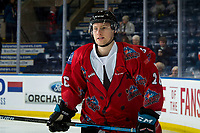 KELOWNA, CANADA - MARCH 9: Michael Farren #16 of the Kelowna Rockets warms up against the Kamloops Blazers  on March 9, 2019 at Prospera Place in Kelowna, British Columbia, Canada.  (Photo by Marissa Baecker/Shoot the Breeze)