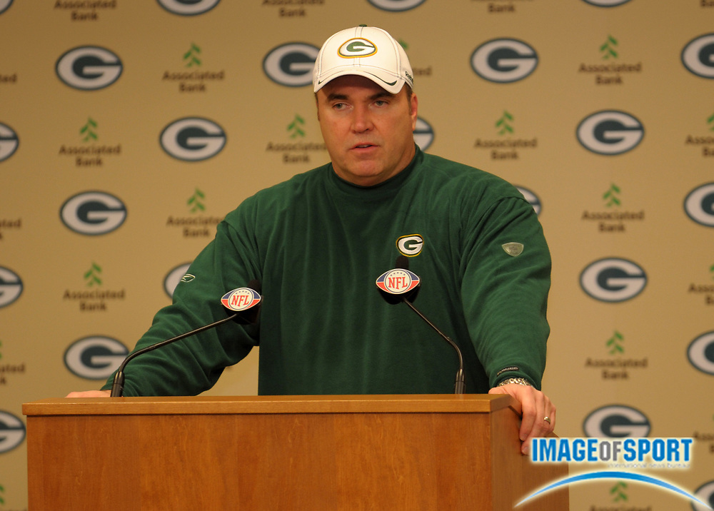 Dec 11, 2011; Green Bay, WI, USA; Green Bay Packers coach Mike McCarthy at press conference after the game against the Oakland Raiders at Lambeau Field. The Packers defeated the Raiders 46-16.
