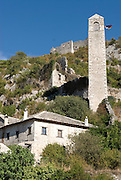 Tower of a church in Pocitelj. Bosnia. Eastern Europe.