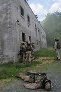Marine Corps Base Quantico..Marine officer plays dead in training for an all-out assault on an insurgent-held village..The Basic School at Camp Barrett  is where all incoming Marine officers are trained. Seven companies of about 300 officers come through every year..Bravo company, shown here, undergoes training before sent out to lead Marine units.