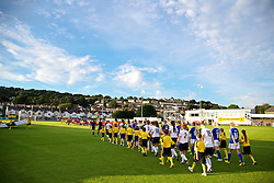 28.08.2013, Richmond Park, Carmarthen, ENG, UEFA Damen U19 EM, England vs Finnland, im Bild England and Finland players walk out before the Semi-Final match of the UEFA Women's Under-19 Championship Wales 2013 tournament at Richmond Park. during the UEFA women U 19 championchip group A match between England and Finland at Richmond Park in Carmarthen, Great Britain on 2013/08/28. EXPA Pictures © 2013, PhotoCredit: EXPA/ Propagandaphoto/ David Rawcliffe<br /> <br /> ***** ATTENTION - OUT OF ENG, GBR, UK *****