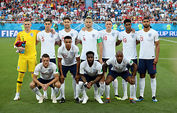 Back row, left to right, England's Jordan Pickford, John Stones, Gary Cahill, Eric Dier, Phil Jones, Marcus Rashford, Ruben Loftus-Cheek. Front row, left to right, England's Jamie Vardy, Trent Alexander-Arnold, Danny Rose and Fabian Delph before the FIFA World Cup Group G match at Kaliningrad Stadium.