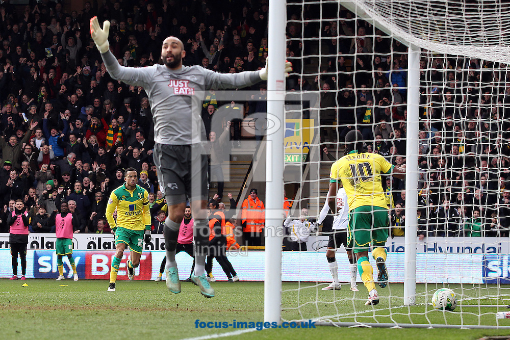 Cameron Jerome of Norwich scores his sides 1st goal during the Sky Bet Championship match at Carrow Road, Norwich<br /> Picture by Paul Chesterton/Focus Images Ltd +44 7904 640267<br /> 14/03/2015